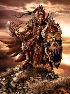 Chaos Warrior of Khorne Warhammer 40k Memes, Warhammer Art, Warhammer Fantasy, Warhammer 40000, Fantasy Figures, Fantasy Armor, Dark Fantasy, Fantasy Characters, Paladin