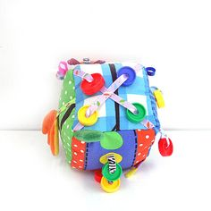 Baby colorful play block . Soft sensory development block . Toy baby 100 % cotton .