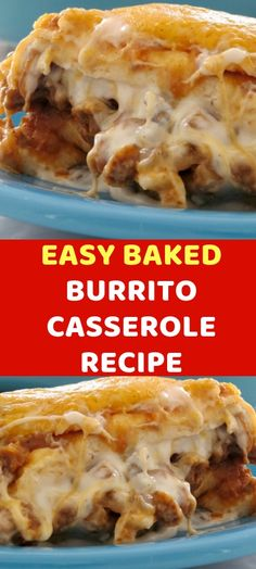 EASY BAKED BURRITO CASSEROLE RECIPE Ingredients: 1 pound of ground beef 1 small onion, chopped 1 pack of taco seasoning 1 can refried beans 1 can cream of mushroom soup, undiluted cup sour cream 1 pack large flour tortillas 2 cups of Tortilla Casserole, Hamburger Casserole, Easy Casserole Recipes, Hamburger Recipes, Beef Recipes, Cooking Recipes, Tortilla Chips, Easy Burrito Recipe, Burrito Recipes