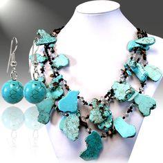 Turquoise slab multi strand necklace, a great piece of western jewelry. $29.99  http://www.ropesandrhinestones.com/tuslneset.html