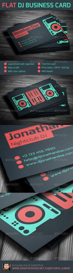 Flat DJ Business Card #GraphicRiver 2-side business card template for professional dj's and producers.