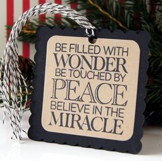 WONDER Peace MIRACLE Christmas Tags Square Scallop by scrapbits