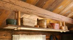 Kitchen - Restored Norwegian sæter mountain cabin - By Else Rønnevig - Via Klikk Norwegian Food, Cottage Interiors, Cabins In The Woods, Log Homes, Small Living, Scandinavian Design, Restoration, Indoor, Shelves