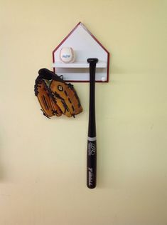 Home Plate Baseball Bat And Ball Display Rack Wood Painted Finish