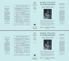 Mark Twain's Autobiography volumes 1 and 2 by Mark Twain on Facsimile Dust Jackets, LLC Mark Twain, Mini Books, Biography, Printables, English, Album, Book Covers, Magazines, Sheet Music