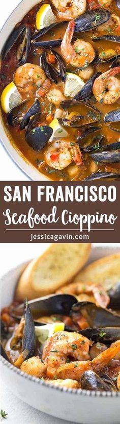 San Francisco Style Seafood Cioppino - A pot of fresh mussels, shrimp, and scallops simmered in a savory tomato and red wine broth. Served with homemade crunchy croutons!