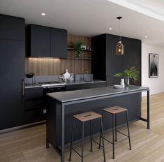 agencement cuisine lineaire noir mat ilot #kitchen #cuisine