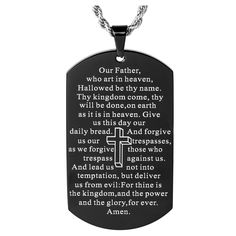 Celebrate your faith with the Men's West Coast Jewelry Mirror Polish Black Plated 'Lord's Prayer' Dog Tag Necklace. This men's religious necklace has edgy style and an important message. Prayer For Peace, Lord's Prayer, Jewelry Mirror, Jewelry Necklaces, Jewlery, Thy Will Be Done, Bible Verses Quotes, Scriptures, Christian Women