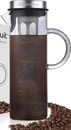 Cold Brew Coffee and Iced Tea Maker - Fruit Infusion Premium Glass Pitcher With Stainless Steel Lid - 2 Interchangeable Infuser Tubes - Large Quarts 52 Oz - Perfect Gift for Home & Kitchen Infusion Pitcher, Iced Tea Pitcher, Iced Coffee Maker, Cold Brew Coffee Maker, Drip Coffee, Iced Tea Glasses, Glass Pitchers, Dessert Bowls, Brewing