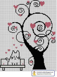Paisaje primaveral, el árbol del amor, en punto de cruz