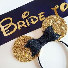 Gold and black Bride to Be Mickey ears