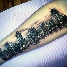 Sleeve Tattoos For Women, Tattoos For Guys, Arrow Tattoos, Tatoos, Building Tattoo, Inner Forearm Tattoo, City Tattoo, Landscape Tattoo, Make Up Organiser