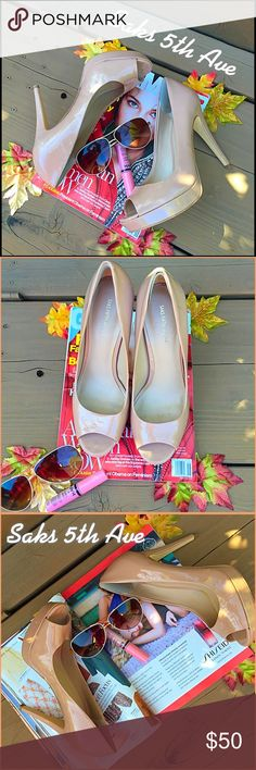 "Saks Oh la love!, nude expectional 5"" Saks fifth ave heels ready to rock.  These beauties are reving to go!, great condition package with love. These have been packed without their box so not perfect but damn close!. Heels in tacked bottoms clean. Saks Fifth Avenue Shoes Heels"