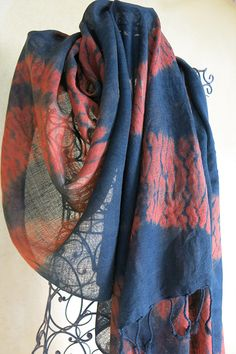 This beautiful Meditation shawl is made of Australian superfine merino wool, gauze dyed with the leaves of 3 distinct Eucalyptus - my unique mix I call Gondwana Colour Wolumbin Red. A second dye of indigo was used after I folded and stitched the shibori using Mokume Shibori. Email me if you're interested in buying or would like more details susan.fellmclean@gmail.com ... #1768 Shibori Techniques, Shawls, Plaid Scarf, Merino Wool, Indigo, Scarves, Meditation, Colour, Unique