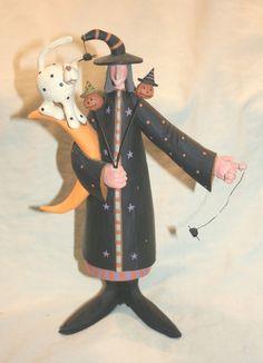 Williraye Studio Folk Art Halloween Witch with Cat Crescent Moon Spider WW6062 | eBay