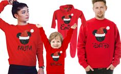 Customized Family Mickey Mouse Christmas red sweatshirts. Set of 3, 4, 5, or 6.