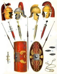 1st century CE legionary (l) and auxiliary (r) kit.