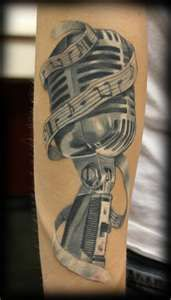 beautiful old school mic music tattoo Check out the website to see more