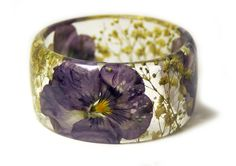 Purple Flower Bracelet Yellow Bangle Purple by ModernFlowerChild, $44.00