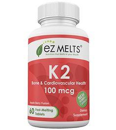 EZ Melts K2, 100 mcg, Dissolving Vitamins, Zero Sugar, Natural Apple Flavor, GMO-Free Fast Melting Tablets, Bone and Heart Health, Gluten-Free Chewable Supplement