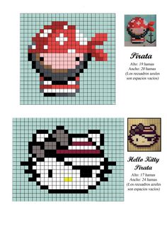 Modelo Pirata. Pirate and Hello Kitty pirate hama perler beads pattern