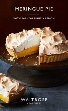 For a fruity twist on a classic dessert, this pie is topped with fluffy meringue and filled with a zesty lemon and passion fruit curd. The sweet passion fruit surprise will impress your guests. Tap for the full Waitrose & Partners recipe. Passion Fruit Pie Recipe, Passion Fruit Curd, Desert Recipes, Gourmet Recipes, Sweet Recipes, Baking Recipes, Köstliche Desserts, Delicious Desserts, Yummy Food