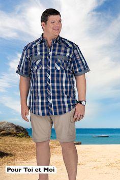 La mode grande taille pour homme allie élégance et confort. #chemise #coton #homme #fort #shorts Allie, Father, Button Down Shirt, Men Casual, Shorts, Mens Tops, Fashion, Plus Size Fashion, Plus Sized Clothing