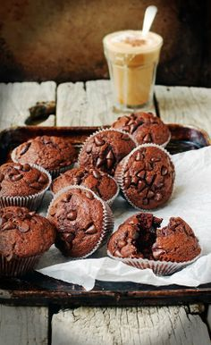 Muffins de chocolate y chips de chocolate