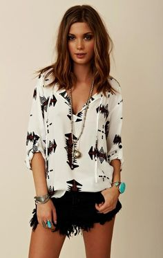 Nothing says summer like a eye catching printed top and some shorts!