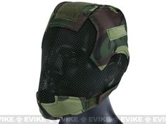 "Matrix High Speed ""Striker helmet"" full face carbon steel mesh mask helmet in woodland camo"