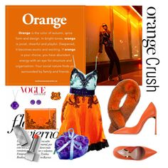 """""""Orange crush"""" by andreeaqueen ❤ liked on Polyvore featuring Givenchy, Burberry, Andrew Marc, Versace, Sebastian Professional and Color My Life"""