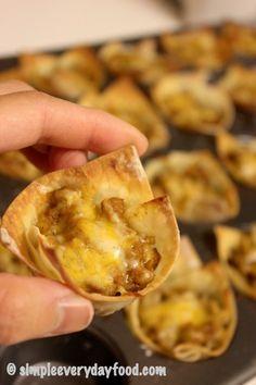 Follow my Cheap Appetizer board! Mini taco cups recipe.