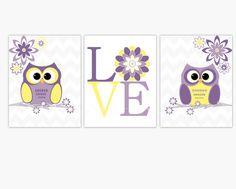 Purple Yellow Baby Nursery Gray Chevron Nursery by dezignerheart, $28.00