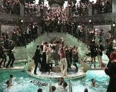 The Great Gatsby   Am I the only one dying for this to be real? Champagne fountain and a party over the pool?!