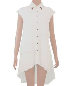 Ladies Dip hem Chiffon Shirt in Cream Short Sleeve Dresses, Dresses With Sleeves, Chiffon Shirt, Princess Seam, Dip, Shirt Designs, Cream, Lady, Shirts