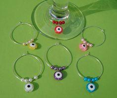 Evil eye bead wine glass charms x 6 $9.95
