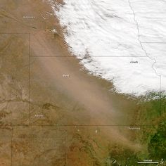 he Moderate Resolution Imaging Spectroradiometer (MODIS) on NASA's Aqua satellite captured this natural-color image of dust storms in the prairies of the United States around 1:15 p.m. Central Daylight Time on October 18, 2012. The dust appeared to have source points in southern Nebraska, though more localized sources in Kansas and Oklahoma also may have contributed. Many farms in the region are plowed in the fall for the planting of winter crops, so soils were loosened.