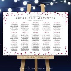 DIY wedding seating chart template - reception table plan PDF printable arrangements - pink hearts confetti - / DIGITAL by HandsInTheAttic Seating Chart Template, Seating Charts, Wedding Ties, Diy Wedding, Diy Stool, Table Names, Seating Chart Wedding, Reception Table, Color Rosa