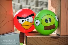 Make angry bird balls with solid red or green balls.