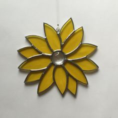Stained glass yellow sunflower suncatcher, stain glass sunflower, glass flower by FoxStainedGlass on Etsy