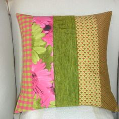 Housse de coussin: vert pomme, anis & fuchsia, coton, velours en patchwork