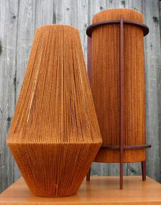 Jute, Teak and Metal Table Lamps, house design design office ideas Interior Lighting, Home Lighting, Lighting Design, Interior Ideas, Interior Design, Diy Luminaire, I Love Lamp, Metal Table Lamps, Mid Century Lighting