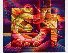 Máximo Laura tapiz arte: pescados y flores - Peces y Flores Este tejido colgante de pared es listo al barco. El precio incluye el envío a todo el mundo. Si usted está interesado enviar un mensaje para recibir un descuento especial.  Este tapiz fue tejido con un telar a mano. El incorporar de colores azul, azul oscuro, azul, amarillo naranja, rojo, entre otros. Esta tapicería tejida a mano es de la colección del Museo Máximo Laura. * Maximo Laura, peruano maestro tejedor, famoso por su…