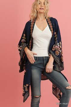 Long Sleeve Open Front Kimono with Floral Print
