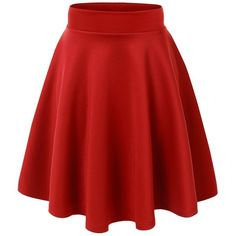 MBJ Womens Basic Versatile Stretchy Flared Skater Skirt Made in USA (13 AUD) ❤ liked on Polyvore featuring skirts