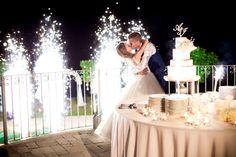 #wedding #fireworks #cake