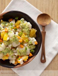 Receta de ensalada de coliflor con aliño exótico