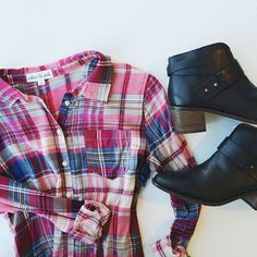 http://lilyandviolet.com/products/plaid-chiffon-shirt via Lily and Violet