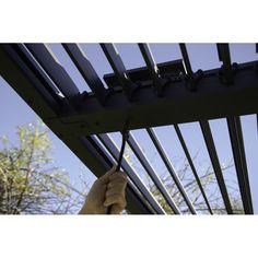 Paragon Grey Novara with Louvered Canopy Pergola – The Better Backyard Pergola Aluminium, Metal Pergola, Pergola Shade, Backyard Shade, Wooden Pergola, Rustic Pergola, Pergola With Roof, Patio Roof, Pergola Patio