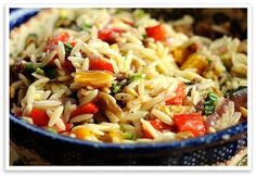 Vegetable Orzo. This dish is colorful and full of delicious flavor. Serve it with chicken for a healthy and balanced meal.